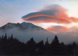 Mount Shasta Blank Greetings Card - Red Lenticular Sunrise - SALE
